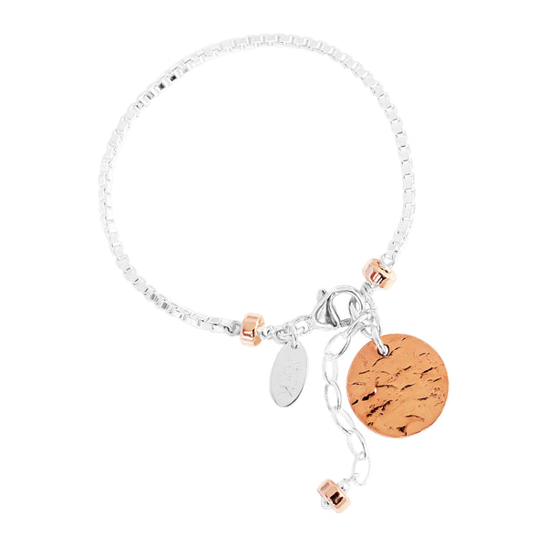 Rock Finders Keepers | Astra Box Chain Bracelet With Hammered Disc - Rose Disc And Detail | VOULT.COM.AU