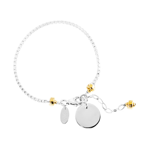 Rock Finders Keepers | Astra Box Chain Bracelet With Polished Disc - Silver Disc And Gold Detail | VOULT.COM.AU