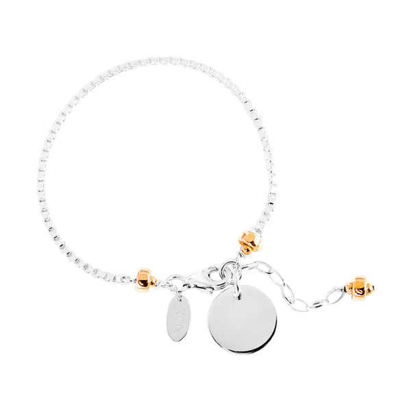 Rock Finders Keepers | Astra Box Chain Bracelet With Polished Disc - Silver Disc And Rose Detail | VOULT.COM.AU
