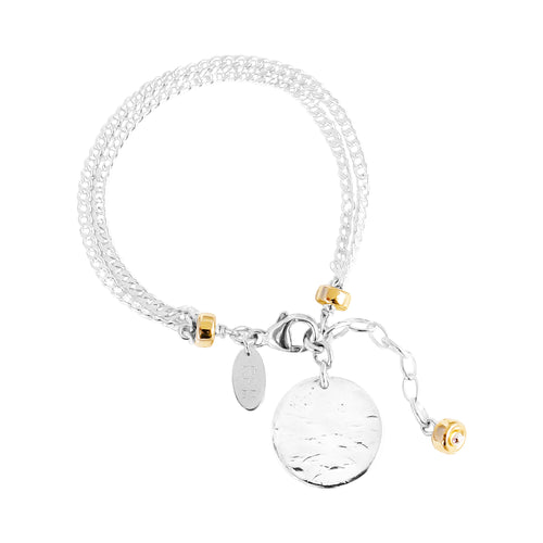 Rock Finders Keepers | Astra Double Statement Chain Bracelet With Hammered Disc - Silver Disc And Gold Detail | VOULT.COM.AU