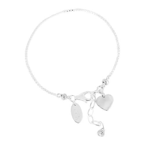 Rock Finders Keepers | Astra Fine Box Chain Bracelet With Heart - Silver Heart And Detail | VOULT.COM.AU