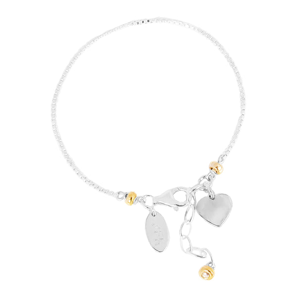 Rock Finders Keepers | Astra Fine Box Chain Bracelet With Heart - Silver Heart And Gold Detail | VOULT.COM.AU