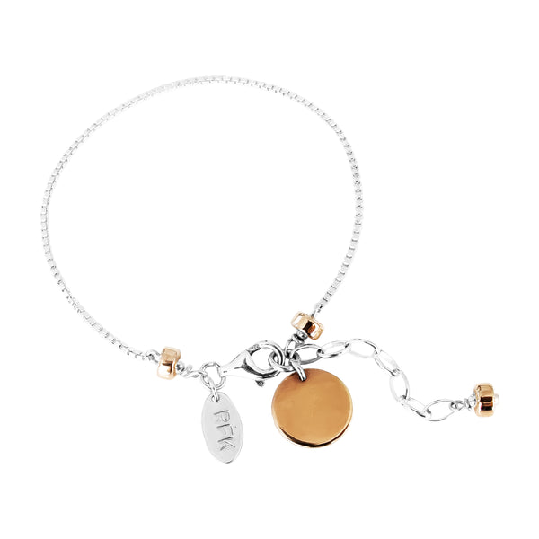 Rock Finders Keepers | Astra Fine Box Chain Bracelet With Polished Disc - Rose Disc And Detail | VOULT.COM.AU