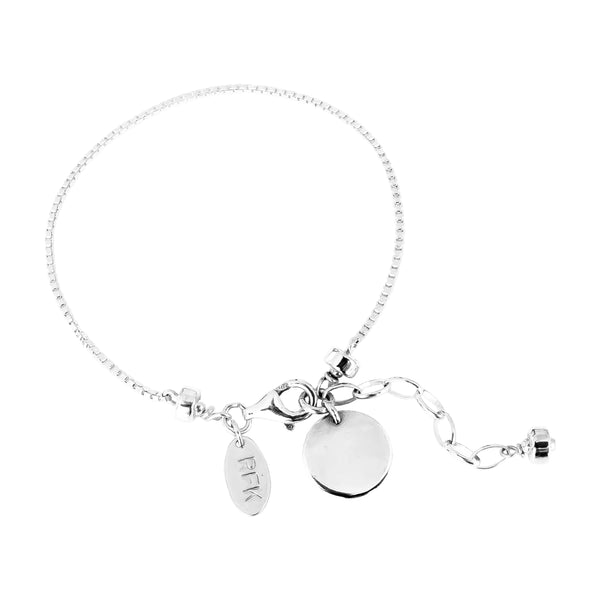 Rock Finders Keepers | Astra Fine Box Chain Bracelet With Polished Disc - Silver Disc And Detail | VOULT.COM.AU