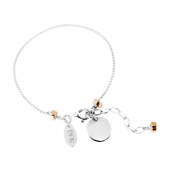 Rock Finders Keepers | Astra Fine Box Chain Bracelet With Polished Disc - Silver Disc And Rose Detail | VOULT.COM.AU