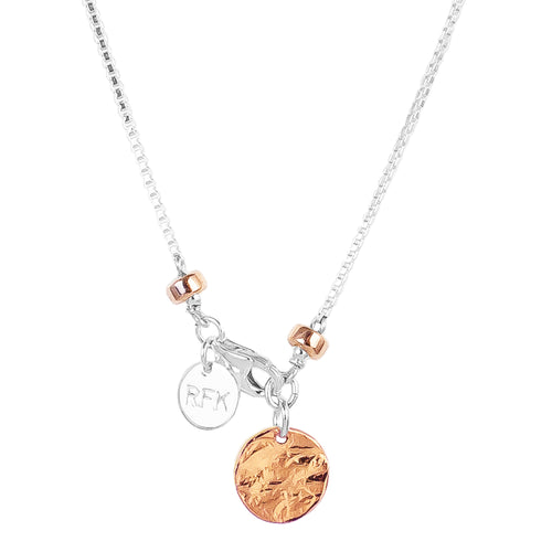 Rock Finders Keepers | Astra Fine Box Chain Necklace - Hammered Rose Disc And Detail | VOULT.COM.AU