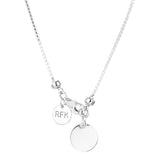 Rock Finders Keepers | Astra Fine Box Chain Necklace - Polished Silver Disc And Detail | VOULT.COM.AU