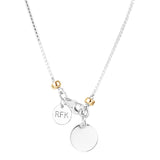 Rock Finders Keepers | Astra Fine Box Chain Necklace - Polished Silver Disc And Gold Detail | VOULT.COM.AU