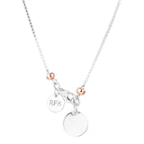 Rock Finders Keepers | Astra Fine Box Chain Necklace - Polished Silver Disc And Rose Detail | VOULT.COM.AU