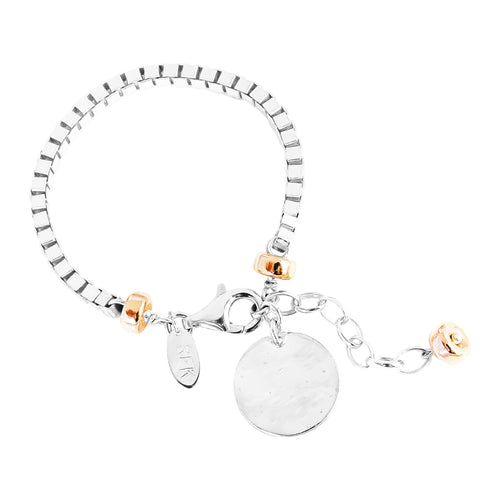 Rock Finders Keepers | Astra Wide Box Chain Bracelet With Hammered Disc - Silver Disc And Rose Detail | VOULT.COM.AU
