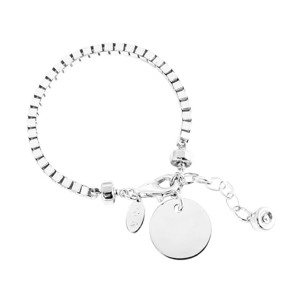 Rock Finders Keepers | Astra Wide Box Chain Bracelet With Polished Disc - Silver Disc And Detail | VOULT.COM.AU