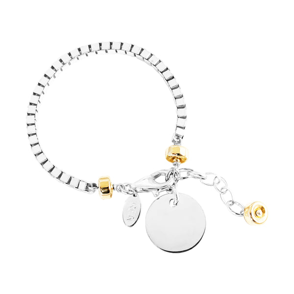 Rock Finders Keepers | Astra Wide Box Chain Bracelet With Polished Disc - Silver Disc And Gold Detail | VOULT.COM.AU