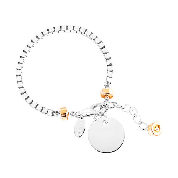 Rock Finders Keepers | Astra Wide Box Chain Bracelet With Polished Disc - Silver Disc And Rose Detail | VOULT.COM.AU