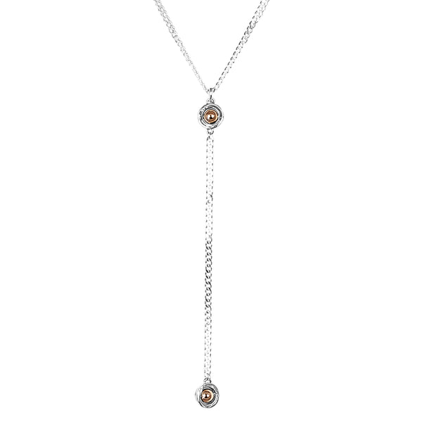 Rock Finders Keepers | Atticus Double Feature Lariet Necklace - Mid | Polished Rose Detail | VOULT.COM.AU