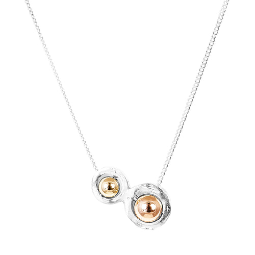 Rock Finders Keepers | Atticus Double Feature Necklace - Polished Gold And Rose Detail | VOULT.COM.AU