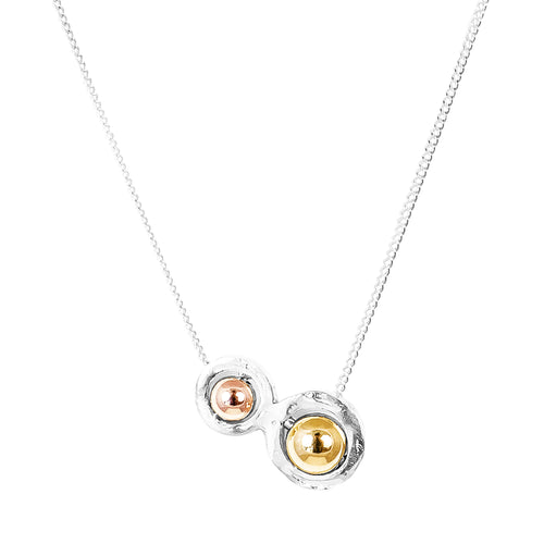 Rock Finders Keepers | Atticus Double Feature Necklace - Polished Rose And Gold Detail | VOULT.COM.AU