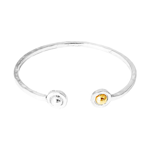 Rock Finders Keepers | Atticus Fine Double Feature Oval Hammered Bangle - Polished Silver And Gold Detail | VOULT.COM.AU