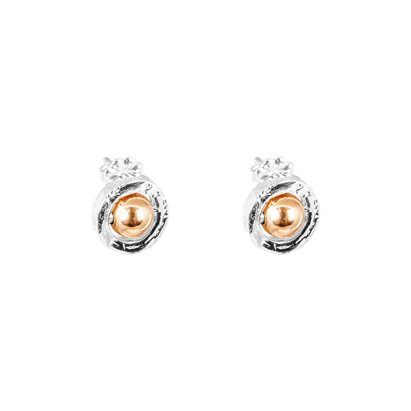 Rock Finders Keepers | Atticus Fine Stud Earrings - Polished Rose Detail | VOULT.COM.AU
