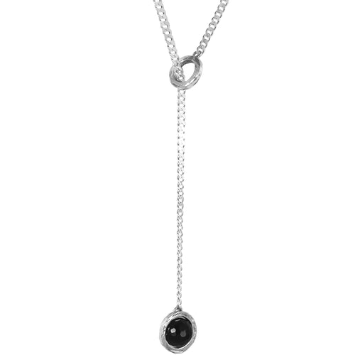 Rock Finders Keepers | Atticus Large Charm Lariet Necklace - Long | Faceted Black Onyx Detail | VOULT.COM.AU