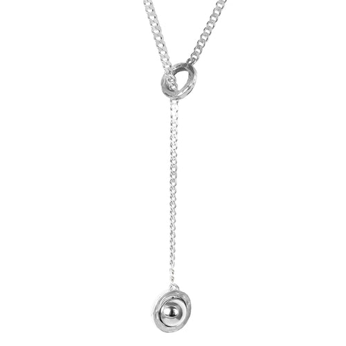 Rock Finders Keepers | Atticus Large Charm Lariet Necklace | Polished Silver Detail | VOULT.COM.AU