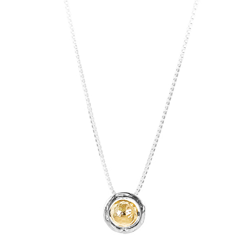 Rock Finders Keepers | Atticus Large Charm Necklace With Box Chain - Long | Hammered Gold Detail | VOULT.COM.AU