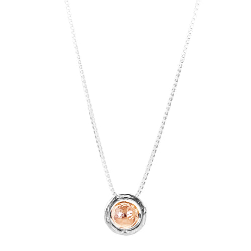 Rock Finders Keepers | Atticus Large Charm Necklace With Box Chain - Long | Hammered Rose Detail | VOULT.COM.AU