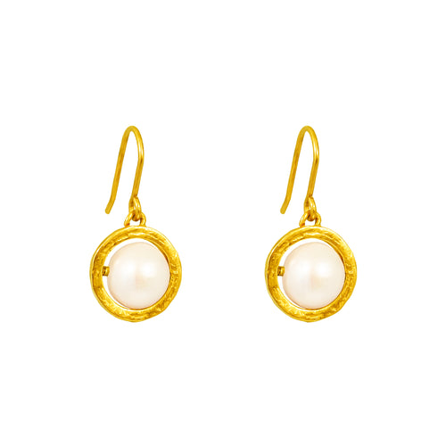 Rock Finders Keepers | Atticus Large Drop Earrings | Gold With Pearl Detail | VOULT.COM.AU