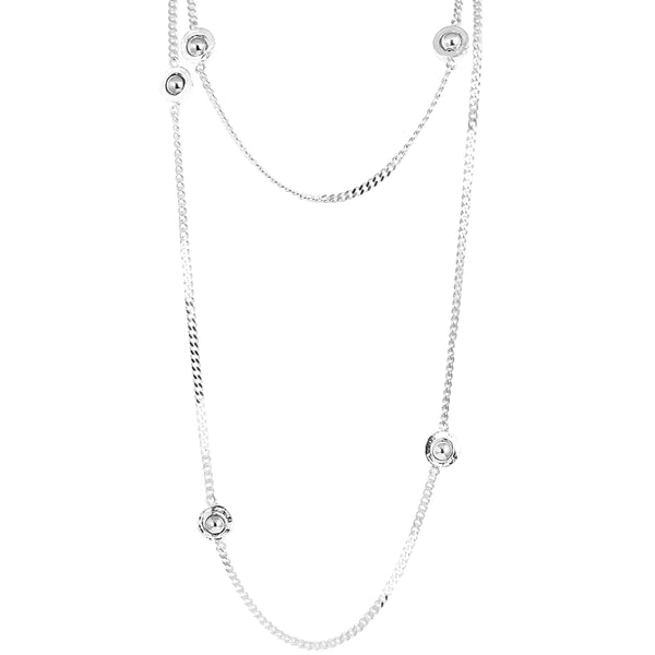 Rock Finders Keepers | Atticus Multi Feature Statement Chain Necklace Long - Polished Silver Detail | VOULT.COM.AU