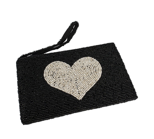 Voult | Hand Beaded Black And Natural Clutch | VOULT.COM.AU
