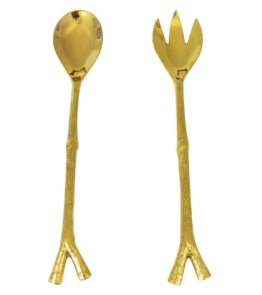 Brass Tree Salad Servers
