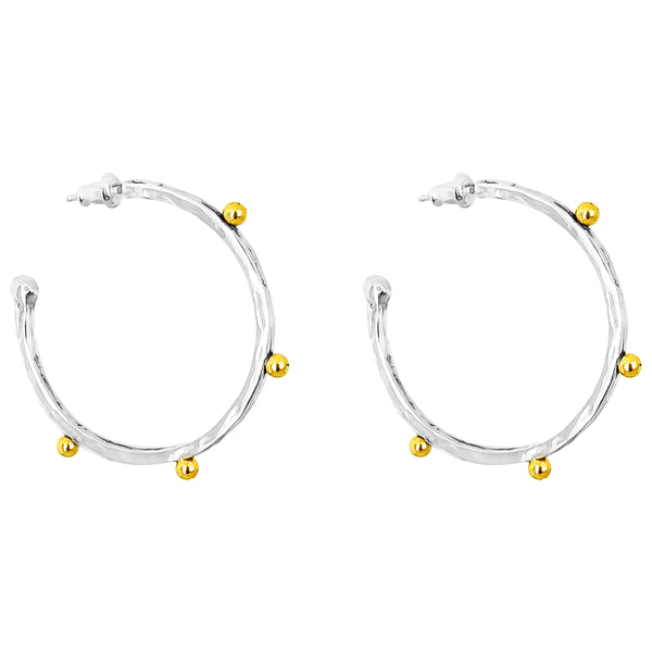Rock Finders Keepers | Bella Large Hammered Hoop Earrings | Gold Detail | VOULT.COM.AU