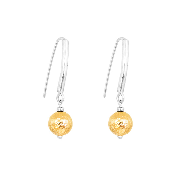 Rock Finders Keepers | Catia Statement Hook Earrings | Hammered Gold Detail | VOULT.COM.AU