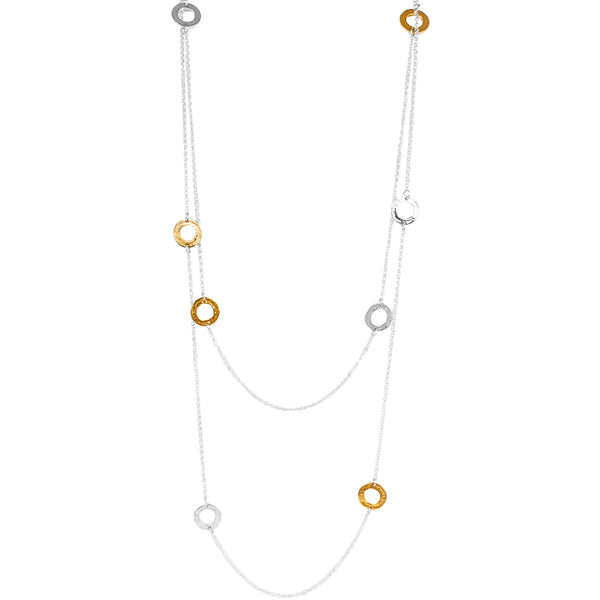 Rock Finders Keepers | Chloe Necklace - Long | Hammered Silver And Gold Detail | VOULT.COM.AU