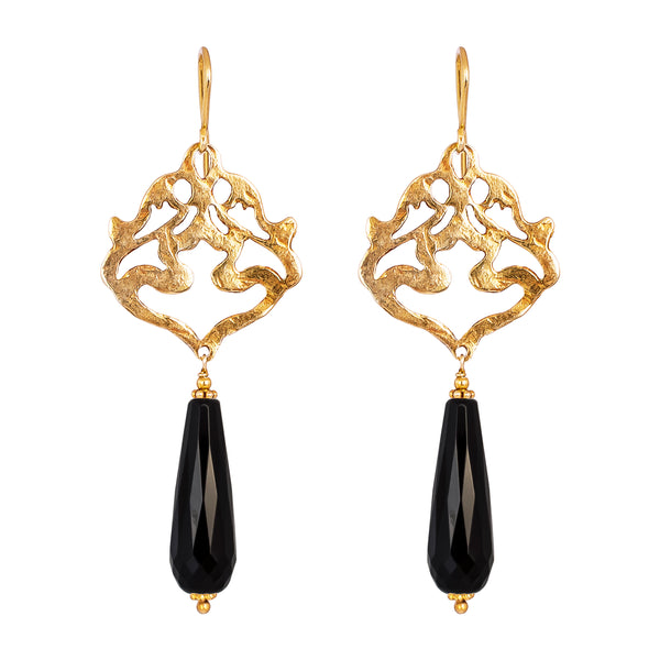 Rock Finders Keepers | Flamingo Earrings | Hammered Gold With Faceted Black Onyx Detail | VOULT.COM.AU