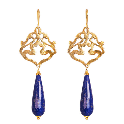 Rock Finders Keepers | Flamingo Earrings | Hammered Gold With Faceted Lapis Detail | VOULT.COM.AU