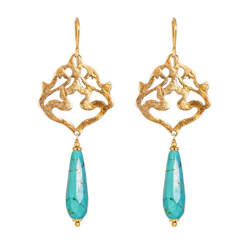 Rock Finders Keepers | Flamingo Earrings | Hammered Gold With Faceted Turquoise Detail | VOULT.COM.AU