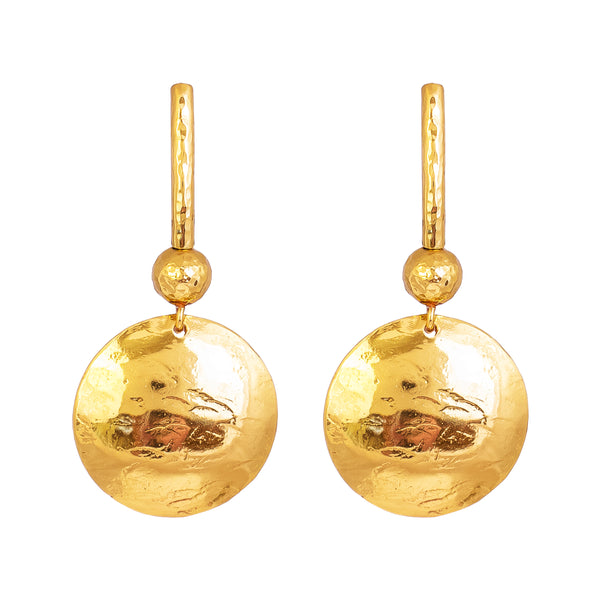 Rock Finders Keepers | Genevieve Disc Earrings With Statement Hook | Gold With Hammered Gold Detail | VOULT.COM.AU