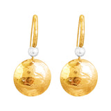 Rock Finders Keepers | Genevieve Disc Earrings With Statement Hook | Gold With Hammered Silver Detail | VOULT.COM.AU