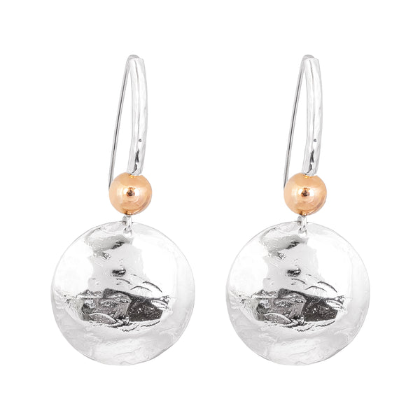 Rock Finders Keepers | Genevieve Disc Earrings With Statement Hook | Silver With Polished Rose Detail | VOULT.COM.AU