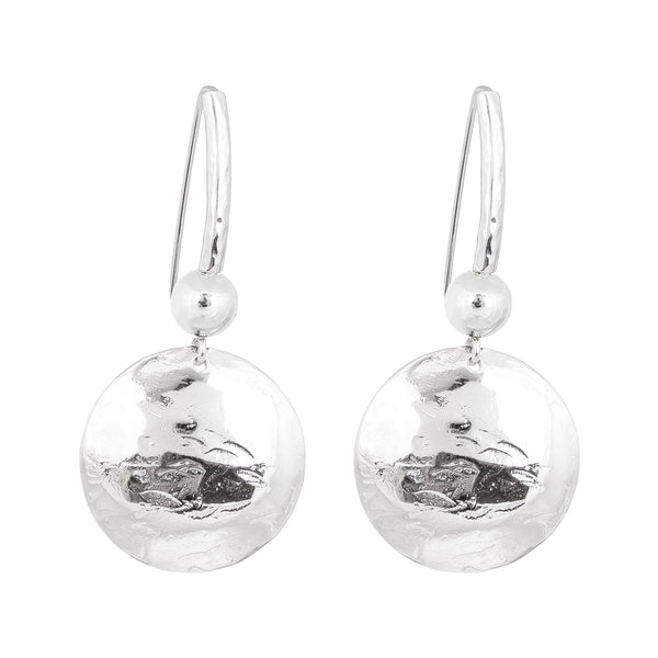 Rock Finders Keepers | Genevieve Disc Earrings With Statement Hook | Silver With Polished Silver Detail | VOULT.COM.AU
