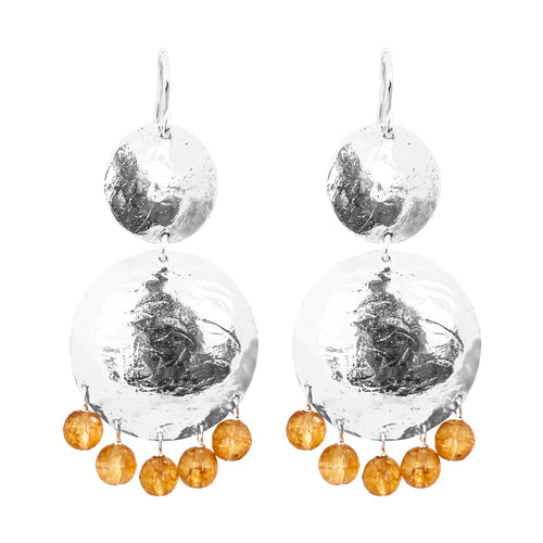 Rock Finders Keepers | Genevieve Double Disc Earrings | Silver With Faceted Citrine Drops | VOULT.COM.AU