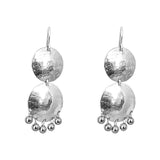 Rock Finders Keepers | Genevieve Medium Double Disc Earrings | Silver With Polished Silver Drops | VOULT.COM.AU
