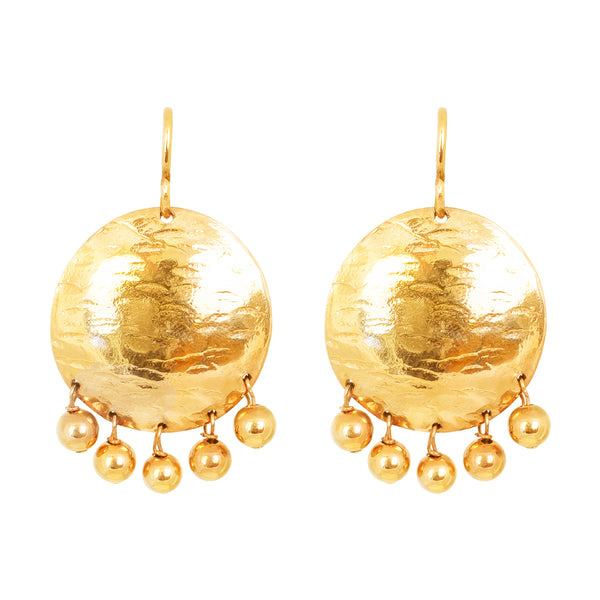 Rock Finders Keepers | Harlow Large Disc Earrings | Gold With Polished Gold Drops | VOULT.COM.AU