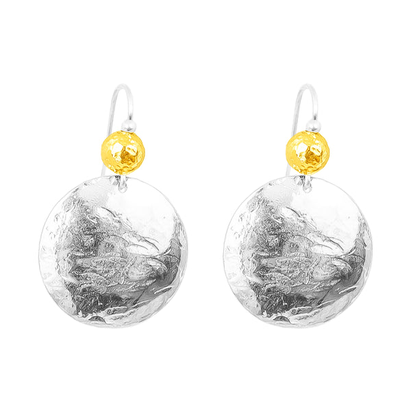 Rock Finders Keepers | Harlow Large Disc Earrings | Silver With Hammered Gold Detail Above | VOULT.COM.AU