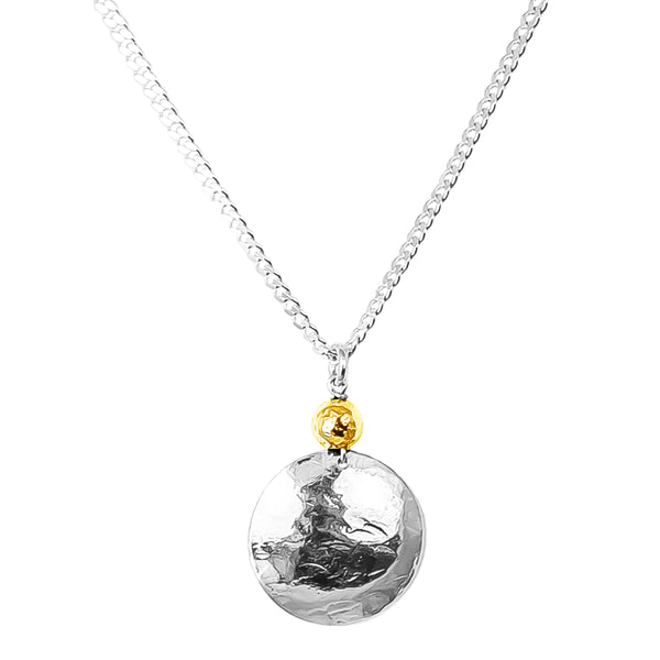 Rock Finders Keepers | Harlow Large Disc Necklace | Silver With Hammered Gold Detail | VOULT.COM.AU