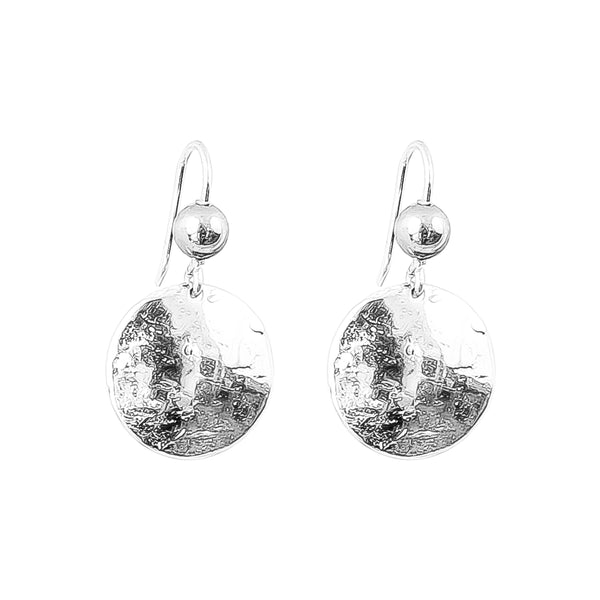 Rock Finders Keepers | Harlow Medium Disc Earrings | Silver With Polished Silver Detail Above | VOULT.COM.AU