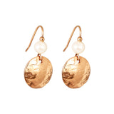 Rock Finders Keepers | Harlow Small Disc Earrings | Rose With Pearl Detail Above | VOULT.COM.AU