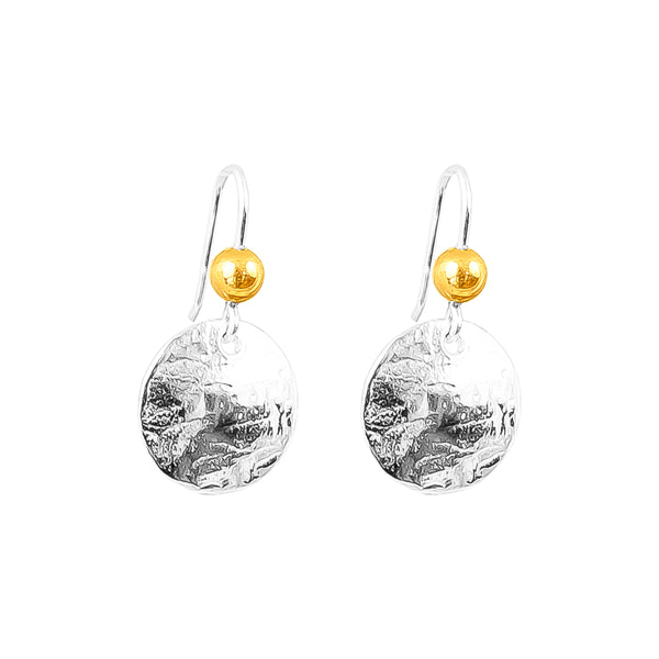 Rock Finders Keepers | Harlow Small Disc Earrings | Silver With Polished Gold Detail Above | VOULT.COM.AU