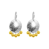 Rock Finders Keepers | Harlow Small Disc Earrings | Silver With Polished Gold Drops | VOULT.COM.AU