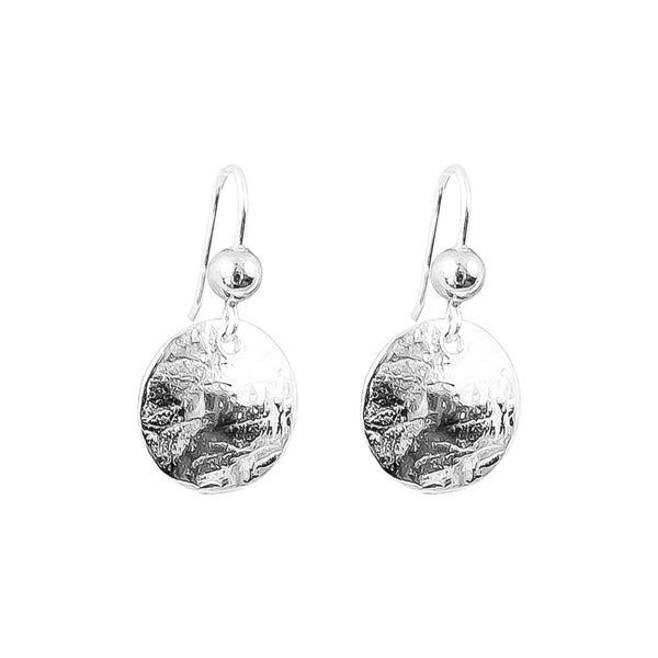 Rock Finders Keepers | Harlow Small Disc Earrings | Silver With Polished Silver Detail Above | VOULT.COM.AU